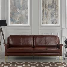 details about mid century leather match sofa living room couch with gold finish frame brown
