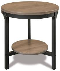 amish ironwood 22 round end table with shelf