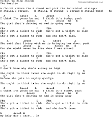 song lyrics guitar chords for ticket to ride the beatles song lyrics guitar chords for ticket to ride the beatles