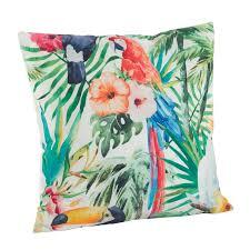 Saro Tropical Parrot Floral Print Indoor Outdoor Throw Pillow