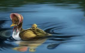 painting oil cartoon lovely little duck water art
