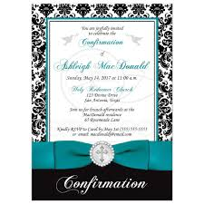 Elegant Confirmation Invitation Black White Damask Printed Teal Ribbon Silver Jeweled Brooch With Cross