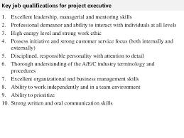 project executive job description   key job qualifications for project