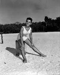 Florida Memory • Linda Pruitt posing on the beach.