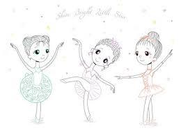 手の種類のポーズや色のかわいい小さなバレリーナ女の子の描かれた