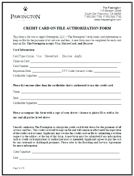 Credit Card On File Form Templates 3rd Party Authorization Form Template