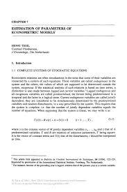 estimation of parameters of econometric models springer inside
