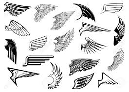 Wing Design Heraldic Vintage Birds Anfd Angel Wings Set For Tattoo Heraldry