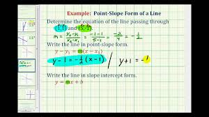 ex find the equation of the line in point slope and slope intercept form given two points you