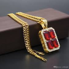 whole mens celebrity style hip hop 18k gold plated red ruby diamond pendant necklace with 5mm 27inch cuba chain necklace fashion jewelry silver