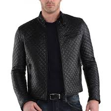 men s slim fit casual wear black leather quilted jacket