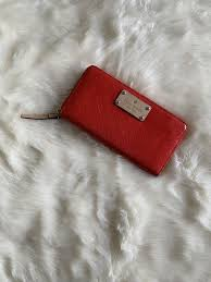 kate spade red patent leather full zip wallet