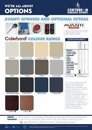 Bluescope Color Chart Colours Centurion Garage Doors