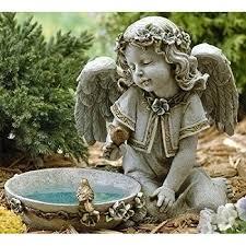 sitting angel bird bath statue solar