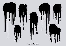 Black spray paint drips vectors