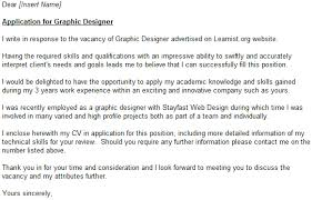 Cover Letter For Graphic Design Job Graphic Designer Cover Letter Example Learnist Org