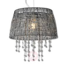 frizzy pendant light with black wire lampshade indoor lighting
