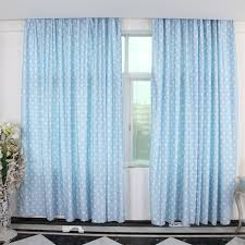 children pale blue curtains with polka dot patterns