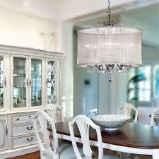 elegant organza silk drum shade crystal chandelier traditional dining room new york by lighting drum