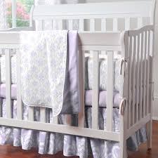 Lavender Nursery Lilac And Silver Gray Damask Mini Crib Bedding Mini Crib Bedding