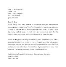 Retail Covering Letter Retail Cover Letter Example Samples For
