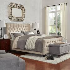 HomeSullivan Lincoln Park Button Tufted Beige King Standard Bed