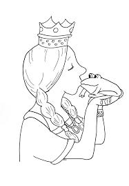 Coloriage Bisou Princesse Sur Une Grenouille Imprimer