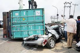 Image result for Container falls on two fully loaded commercial buses in Ojota