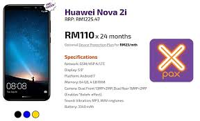 huawei nova 2i price. get a brand new huawei nova 2i from 110/month with xpax easyphone price