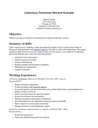 Medicaltory Technologist Resume Sample For Study Lab Technician Job