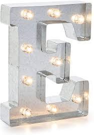 silver metal marquee letter e
