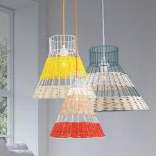 coloured rattan pendant light
