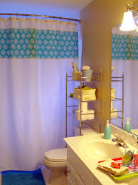 Blue Wall Paint Decoration In Modern Home Kids Bathroom Design Ideas With  Chandelier Also Rack Shelving ...