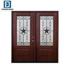 decorative tempered glass inserted double leaf exterior fiberglass door