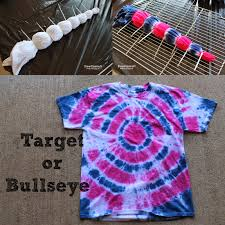 target or bullseye just grab the shirt where you want the center of the target to be then zip tie it and repeat for as many rings as you want