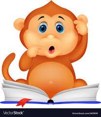 cute monkey cartoon reading book vector image