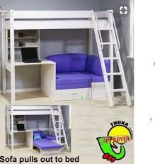 high sleeper bed with desk and sofa