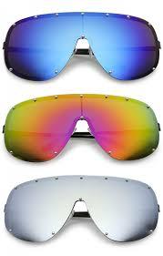 futuristic oversize rimless colored mirrored mono lens shield sunglasses 75mm zoom