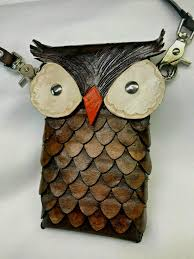 details about leather owl bag purse phone holder it s a hoot case fantasy hand stitched