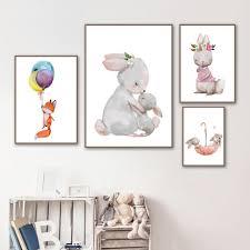 Baby Rabbit Fox Balloon Wall <b>Art Canvas Painting</b> Nordic <b>Posters</b> ...