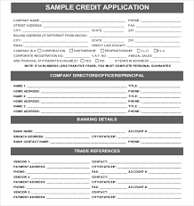 Application Forms Sample 15 Credit Application Templates Free Sample Example Format