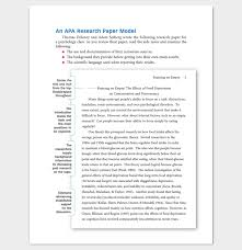 Sample Of An Apa Research Paper Apa Style Action Research Paper Term Paper Example