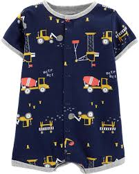 Carters Baby Boy Size Chart Construction Snap Up Romper Carters Com