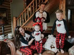 Moose And Buffalo Check Family Christmas Pajamas Family