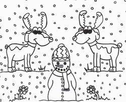 Reindeer And Snowman Coloring Sheet ***