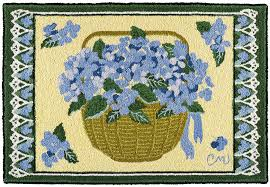 claire murray hydrangea basker 2 x 3 hand hooked rug