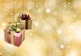 Gifts Background Hanging Christmas Gifts On A Glittery Gold Christmas Background
