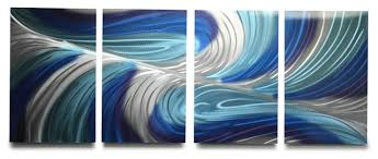 echo blues metal wall art 63 x24  on navy blue and teal wall art with echo blues metal wall art 63 x24 modern metal wall art by