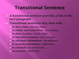 transitional sentences s bamford there are four types of sentences that make up a