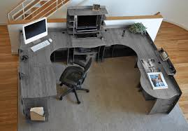 large office desk. Large Grey Wood U Shaped Office Desk B